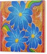 Blue Daisies Gone Wild Wood Print