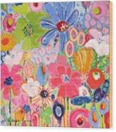 Blue Daisy Flower Garden Wood Print