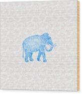 Blue Damask Elephant Wood Print
