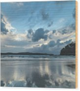 Blue Dawn Seascape With Cloud Reflections Wood Print