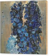 Blue Delphiniums For Nancy Wood Print