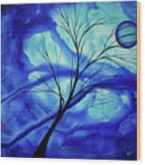 Blue Depth Abstract Original Acrylic Landscape Moon Painting By Megan Duncanson Wood Print