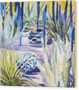 Blue Desert Botanical Desert Phoenix Wood Print