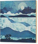 Blue Desert Wood Print