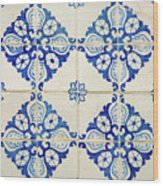 Blue Diamond Flower Tiles Wood Print