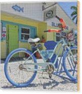 Blue Dog Matlacha Island Florida Wood Print