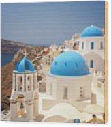 Blue Domed Churches Santorini Wood Print