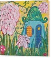 Blue Door Fairy House Wood Print