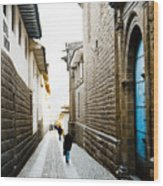 Blue Door In Cusco Wood Print by Darcy Michaelchuk