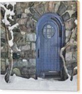 Blue Door In February Wood Print