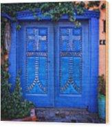 Blue Door In Old Town Wood Print
