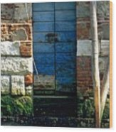 Blue Door in Venice Wood Print