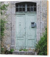 Blue Door In Vianne France Wood Print