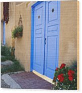 Blue Door Of An Adobe Building Taos New Mexico Wood Print