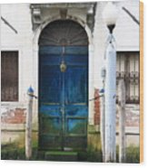 Blue Door on Grand Canal in Venice Wood Print