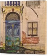 Blue Door Venice Wood Print