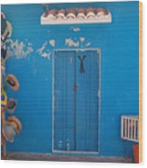 Blue Doors In Mexico Wood Print