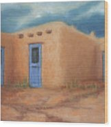Blue Doors In Taos Wood Print by Jerry McElroy
