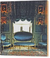 Blue Drawing Room Wood Print by DigiArt Diaries by Vicky B Fuller