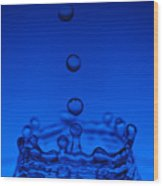 Blue Drop Wood Print