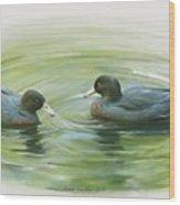 Blue Ducks  Wood Print