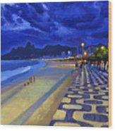 Blue Dusk Ipanema Wood Print