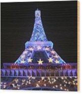 Blue Eiffel Wood Print