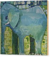 Blue Elephant Wood Print
