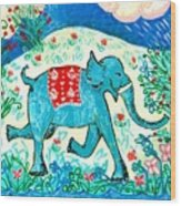 Blue Elephant Facing Right Wood Print by Sushila Burgess