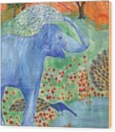 Blue Elephant Squirting Water Wood Print