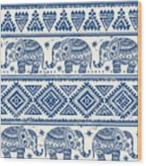 Blue Elephant With Ornaments Design Wood Print