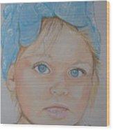 Blue Eyed Baby In Bandana Wood Print