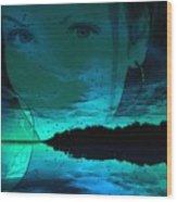 Blue Eyes At Night Wood Print