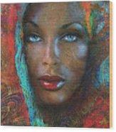 Blue Eyes Dark Oriental Wood Print