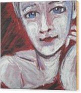 Blue Eyes - Portrait Of A Woman Wood Print