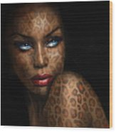 Blue Eyes Wild 3 Wood Print