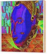 Blue Faced Mask Wood Print