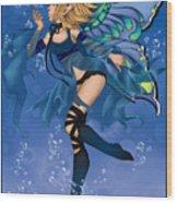 Blue Fairy Of Water Wood Print