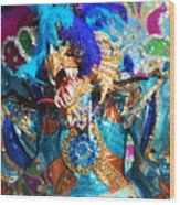 Blue Feather Carnival Costume And Colorful Background Horizontal Wood Print