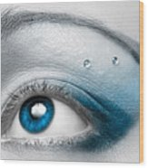 Blue Female Eye Macro With Artistic Make-up Wood Print