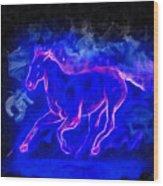 Blue Fire Horse - Da Wood Print