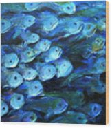 Blue Fish Wood Print