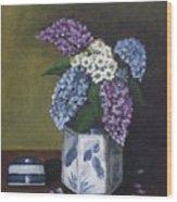 Blue Fish Vase Wood Print