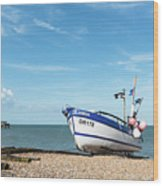 Blue Fishing Boat Wood Print