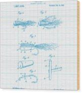 Blue Fishing Lure Patent Wood Print