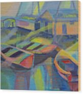 Blue Fishing Village Wood Print
