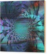 Blue Fleur Wood Print