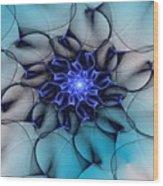 Blue Floral 083010 Wood Print