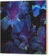 Blue Floral Fantasy Wood Print