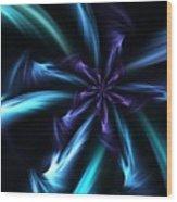 Blue Floral Fractal 12-30-09 Wood Print